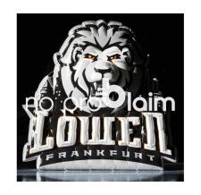 Aufblasbares Logo als Rückwand - Löwen Frankfurt