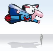 Fliegende Ballon -  Maskottchen Möbelix