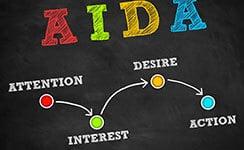 Alles Infos zum AIDA Prinzip - Schriftzug AIDA