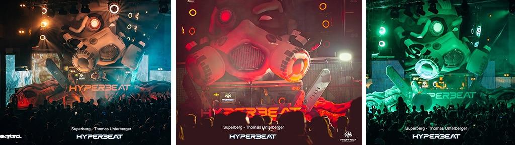 Aufblasbarer Roboterkopf am Hyperbeat Festival