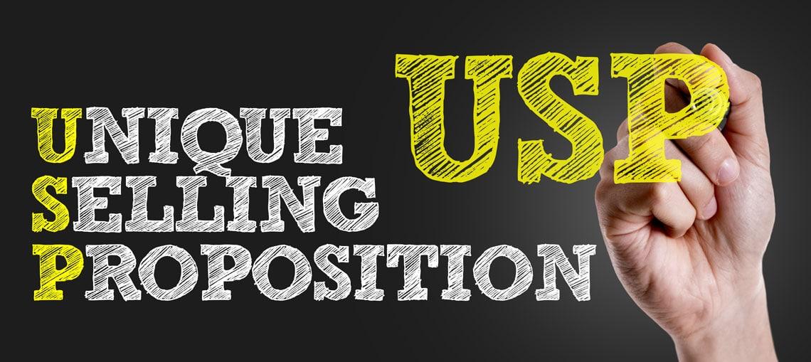 """Zeichnung von dem Wort """"USP"""" oder """"Unique Selling Proposition"""""""